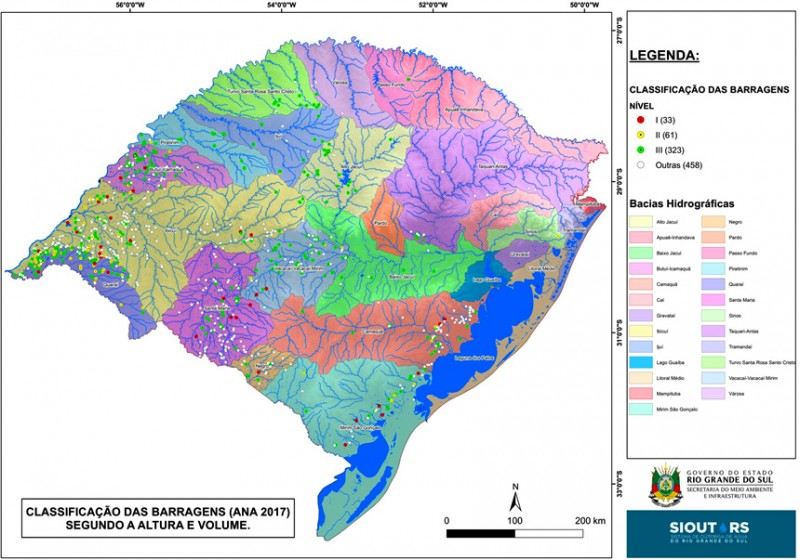 Mapa barragens RS