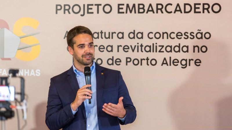 PORTO ALEGRE, RS, BRASIL, 05.01.2021 - Assinatura do termo de concessão com a Embarcadero . Fotos: Gustavo Mansur/ Palácio Piratini