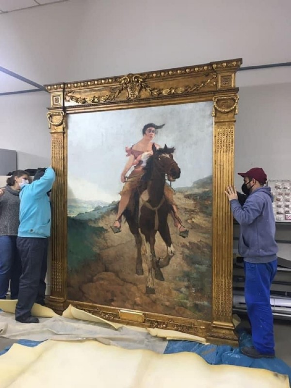 quadro Fuga de Anita Garibaldi a Cavalo